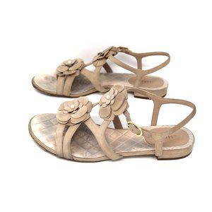 CHANEL Size 38 Camellia Kid Suede Sandal